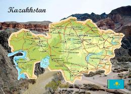 Kazakhstan Country Map New Postcard Kasachstan Landkarte AK - Kazakistan