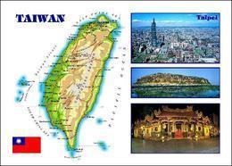 Taiwan Country Map New Postcard Landkarte AK - Taiwan