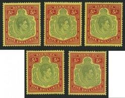 BERMUDA-INSELN 113a,b **,* , 1939-45, 5 Sh. Rot/grün Auf Gelb Und Rot/hellgrün Auf Gelb, Gezähnt 14, 5 Werte In Nuancen, - Bermudes