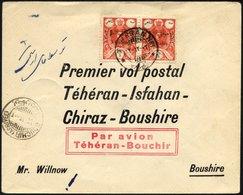 IRAN 502 BRIEF, 20.4.1928, TEHERAN-ISFAHAN-CHIRAZ-BOUSHIRE, Prachtbrief, RR!, Müller 21 - Irán