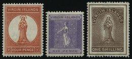 JUNGFERNINSELN 14-16 *, 1887, 4 P. - 1 Sh. Heilige Ursula, Falzreste, 3 Prachtwerte, Mi. 157.- - British Virgin Islands