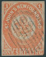 KANADA - NEUFUNDLAND 9b O, 1860, 1 Sh. Orange (SG.-Nr. 15) Untere Rechte Ecke Minimal Tangiert Sonst Vollrandiges Pracht - Newfoundland