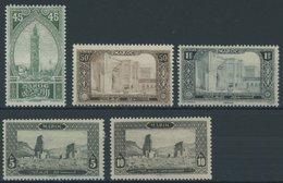 MAROKKO 32-34,36/7 *, 1917, 45 C. - 1 Fr., 5 Und 10 Fr. Baudenkmäler, StTdr., Falzrest, 5 Prachtwerte, Mi. 132.50 - Maroc (1956-...)