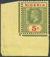 NIGERIA 10b **, 1915, 5 Sh Grün/rot Auf Dunkelgelb, Aus Der Unteren Linken Bogenecke, Postfrisch, Pracht - Nigeria (1961-...)