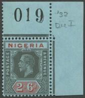 NIGERIA 21I **, 1932, 2`6 Sh/P Schwarz/rot Auf Blau, Platte 1, Aus Der Oberen Rechten Bogenecke Mit Bogen Nr., Postfrisc - Nigeria (1961-...)