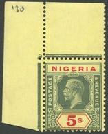 NIGERIA 22II **, 1926, 5 Sh. Grün/rot, Platte 2, Obere Linke Bogenecke, Postfrisch, Pracht - Nigeria (1961-...)