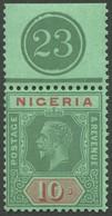 NIGERIA 23I **, 1932, 10 Sh. Grün/rot, Platte I, Form OR Mit Nr. 23, Postfrisch, Pracht - Nigeria (1961-...)