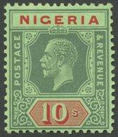 NIGERIA 23II **, 1927, 10 Sh. Grün/rot, Platte II, Postfrisch, Pracht - Nigeria (1961-...)