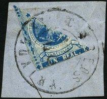 VENEZUELA 10H BrfStk, 1863, 1 R. Blau, Diagonal Halbiert Auf Briefstück, üblich Gerandet, Pracht - Venezuela