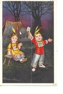 ILLUSTRATEUR  COLOMBO     2 ENFANTS INDIENS    AVEC  HACHE - Colombo, E.