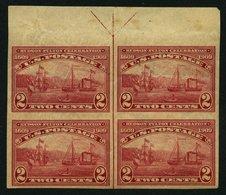 USA 177B VB **,* , Scott 373, 1909, 2 C. Entdeckung Und Dampfschiffahrt Auf Dem Hudson, Ungezähnt, 2 Oberrandstücke Im V - United States