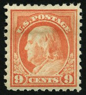 USA 231K *, Scott 471, 1916, 9 C. Franklin, Ohne Wz., Gezähnt L 10, Falzrest, Pracht, $ 55 - United States