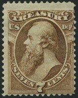 DIENSTMARKEN D 75 *, Scott O 76, 1873, 7 C. Treasury, Falzreste, Feinst, $ 250 - 1847-99 General Issues