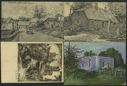 ALTE POSTKARTEN - BALTISC Kurländische Künstlerkarten, 4 Verschiedene Feldpostkarten Aus Dem Baltikum - Postales