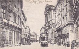 ROMA -CORSO VITTORIO EMANUELE E PALAZZO MASSIMO - TRAM IN PRIMO PIANO - 1917 - Trasporti