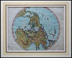 Die Nördliche Hemisphäre, Blindkarte, Kolorierter Kupferstich Von Güssefeld, Weimar 1803 - Maps
