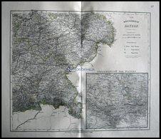 Generalkarte, Der Südöstliche Teil, Grenzkolorierter Stahlstich Aus Meyers Hand-Atlas, 1875 - Maps