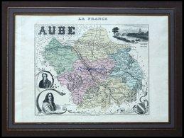 Departement Aube Mit Gesamtansicht Von Nogent A.d. Seine Und Dekorativer Personenstaffage, Farbiger Stahlstich Von M. Vu - Maps