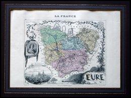 Departement Eure Mit Gesamtansicht Der Hauptstadt Évreux Und Dekorativer Staffage, Farbiger Stahlstich Von M. Vuillemin, - Maps