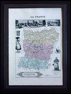 Departement Mayenne Mit Gesamtansicht Der Hauptstadt Laval Und Dekorativer Personenstaffage, Farbiger Stahlstich Von M.  - Maps