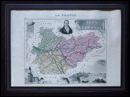 Departement Tarn-et-Garonne Mit Gesamtansicht Der Hauptstadt Montauban Und Dekorativer Personenstaffage, Farbiger Stahls - Maps