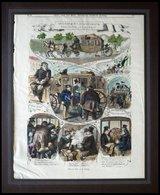 WIEN: Szenen Aus Dem Wiener Omnibus, Freuden Und Leiden, Kolorierter Holzstich Nach Imlauer Um 1880 - Lithographies