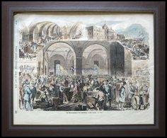 ST. PETERSBURG: Das Generalzollamt, 3 Ansichten Auf Einem Blatt, Kolorierter Holzstich Um 1880 - Lithographies