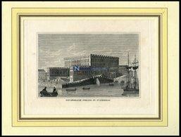 STOCKHOLM: Das Königliche Schloß, Kupferstich Aus Strahlheims Wundermappe, 1837 - Lithographies
