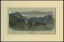 BECKENRIED, Gesamtansicht, Kolorierter Holzstich Um 1880 - Lithographies