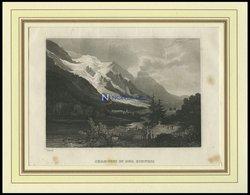 CHAMOUNY, Gesamtansicht, Blick In Das Tal, Stahlstich Von B.I.um 1840 - Litografía