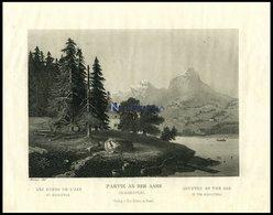 IM HASLITHAL: Partie An Der Aare, Teilansicht Mit Blick Auf Den See, Stahlstich Von Reiner Um 1840 - Litografía