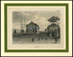 HOFWYL B. BERN: Teilansicht Mit Spielenden Kindern Im Vordergrund, Stahlstich Von B.I. Um 1840 - Litografía
