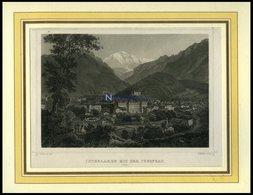 INTERLAKEN, Gesamtansicht Mit Der Jungfrau, Stahlstich Von Rohbock/Müller Um 1840 - Litografía