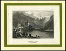 Der MONT-ROSA Von Vispach Aus Stahlstich Von B.I. Um 1840 - Litografía