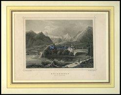 REICHENAU/GRAUBÜNDEN, Teilansicht, Stahlstich Von Rohbock/Poppel Um 1840 - Lithographies