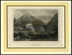 RHÄZÜNS/KANTON GRAUBÜNDEN, Teilansicht, Stahlstich Von Rohbock/Poppel Um 1840 - Litografía