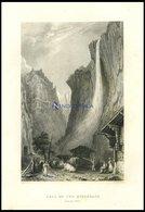 Der STAUBBACHFALL (KANTON BERN) Mit Hübscher Personen-und Tierstaffage Im Vordergrund, Stahlstich Von Bartlett/Stephenso - Litografía