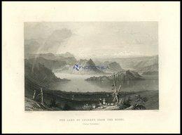 Der VIERWALDSTÄTTERSEE Vom Rigi Aus Gesehen, Teilansicht, Stahlstich Von Bartlett/Mottram, 1836 - Lithographies