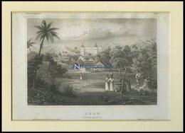 ZENTRAL AMERIKA: Leon, Gesamtansicht, Stahlstich Von B.I. Um 1840 - Lithographies
