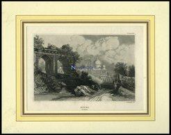 INDIEN: Monea, Gesamtansicht, Stahlstich Von B.I. Um 1840 - Litografía