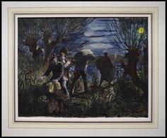 Schmuggler, Kolorierter Holzstich Von Gehrts Von 1881 - Litografía