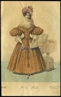 Wiener-Moden - Kleid Aus Orangefarbigem Pondichern Mit Posamentirarbeit Verziert Und Einem Blond-Chimeset - Dazu Krepp-H - Litografía