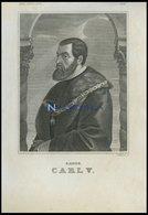 Kaiser Carl V., Stahlstich Von Müller Sc. Um 1840 - Litografía