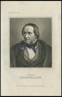 Peter Von Cornelius, Deutscher Maler, Stahlstich Von B.I. Um 1840 - Litografía