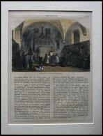Amor Als Sieger: Franziskaner, Das Te Deum Singend, Kolorierter Holzstich Mit Textseite - Litografía