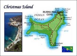 Christmas Island Map Australia New Postcard Weihnachtsinsel Landkarte AK - Isole Christmas