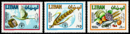 Lebanon, 1982, World Food Day, FAO, Fruits, United Nations, MNH, Michel 1306-1308 - Líbano