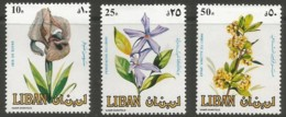 Lebanon, 1984, Blossoms, Flowers, Flora, MNH, Michel 1321-1323 - Líbano