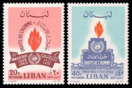 Lebanon, 1964, Human Rights Declaration, 15th Anniversary, United Nations, MNH, Michel 867-868 - Líbano