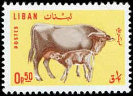 Lebanon, 1965, Cow, Calf, Animals, Fauna, MNH, Michel 911 - Líbano